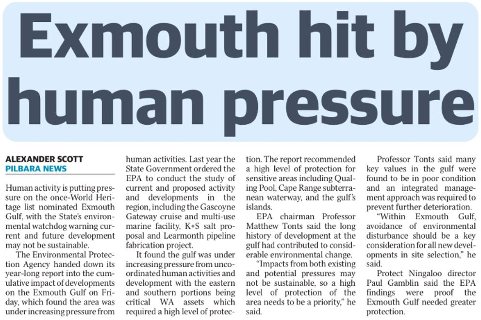 The Sunday Times: Exmouth hit by human pressure